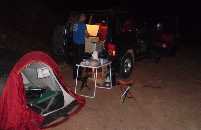 During the Egyptian Vulture expedition we used 'mobile hotel' with mini-kitchen, mini-fridge and everything, Middle Atlas, June 2014. Here Rachid El Khamlichi was preparing something to eat.