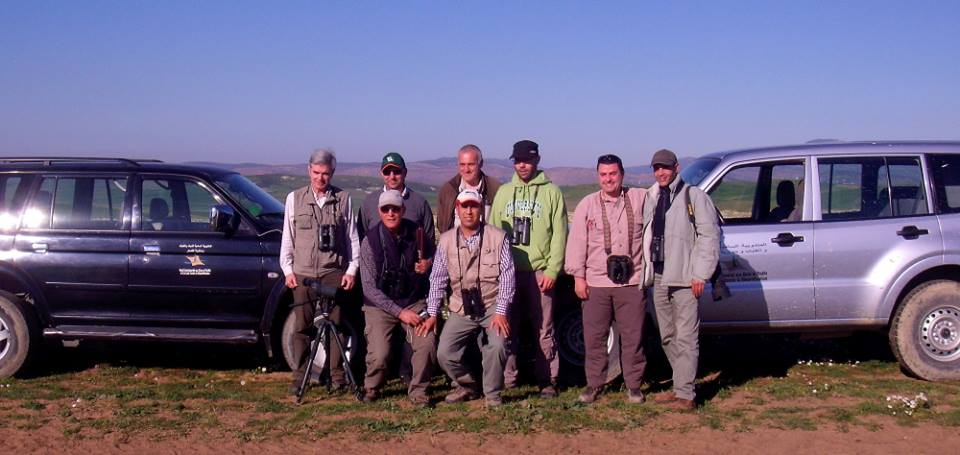 Great Bustard Survey Team posing with the cars of the Moroccan Forestry Administration (HCEFLCD) during the fieldwork, March 2015.