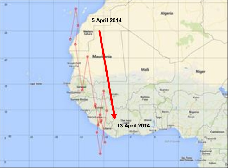Plain Swift's aborted return migration: Position of H001 between 5 April and 13 April 2014