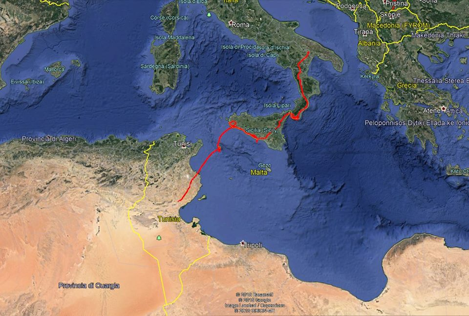 The migratory route of Bianca, a young Egyptian Vulture released in southern Italy, and found dead in Tunisia (CERM, Centro Rapaci Minacciati).