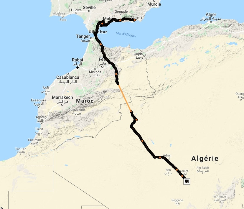 Xylophone's journey from southern Spain to southern Algeria where the GPS tag stopped sending data. It started again when the bird reached the Sahel (LPO).